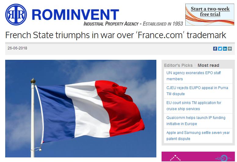 """域名France.com及商标都想要 法国政府""""耍流氓""""?"""