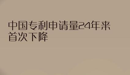 中国专利申请量24年来首次下降,原因是